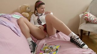 Effie is a cutie in a discourteous skirt who is curious about a massive toy
