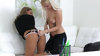 Young dolls are having fun with each other's pussy in passionate XXX