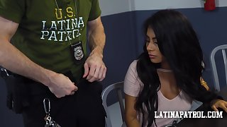 Border security agent fucks a sexy Latina babe and then cums in her mouth