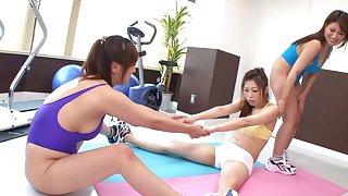 Flexible Japanese girls Yuki Touma & Yume Mizuki play with a fuck machine