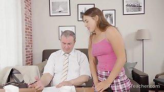 Sexy coed has an idea how to improve her grades and she fucks like mad