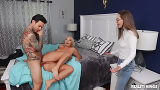 London River rides a dick of Aften's BF and she joins them for a 3-way