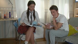 Ponytailed school doll is in the mood for casual ass fucking hookup with 1 of her probing friends