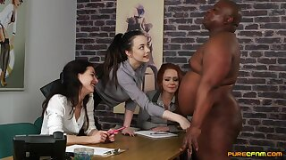 Clothed females admire a BBC in advance to sharing it