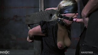 Tied hard blonde bitch Dia Zerva stands on knees and gives BJ