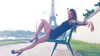 Sexy Russian babe flaunting her tits with the Eiffel Tower in the background