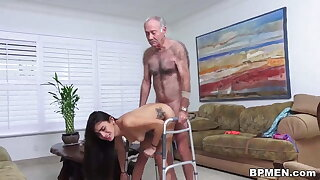 Kinky old man licks and fucks lovely Michelle Martinez