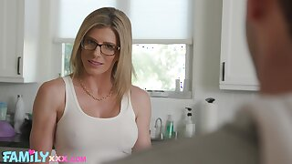Busty woman with sexy glasses, domicile XXX romance with the stepson
