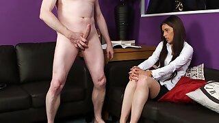 Deep orgasm after the cute bore schoolgirl sucks dick clothed