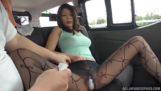 Seductive Japanese ungentlemanly Hodaka Yuuki takes off her clothes in the car