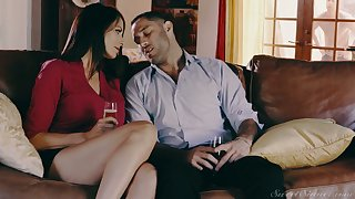 Stunning dark haired housewife Reagan Foxx is polished mish and doggy