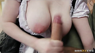 Randy French maid with perfect tits has multiple orgasms