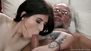 Fantastic bosomy babe called Sheril Blossom strokes and rides dick like pro