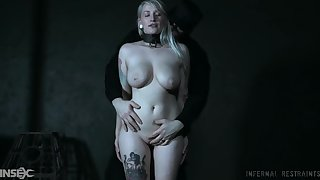 Busty blonde in savage maledom action