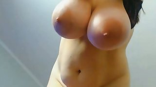 horny babe with big boobs fingering wet pussy