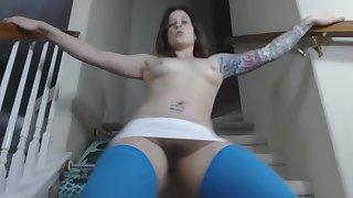 gr33n3y3d blue knee highs