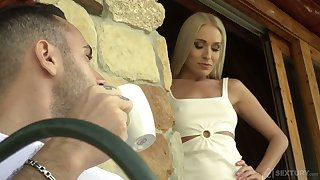 Foot fetish video featuring oversexed blond hottie with sexy pedicure feet Angelika Grays