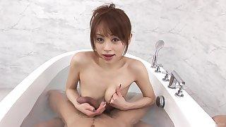 Amazing brunette Miina Yoshihara enjoys blowing in the bathroom