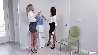 Isabelle Deltore catches her horny colleague having sex with her boss